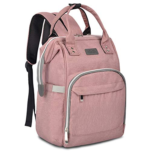 Diaper Bag Backpack for Mom Viedouce Baby Diaper Bags Nappy Backpack with Changing Pad Stroller Straps, Pink