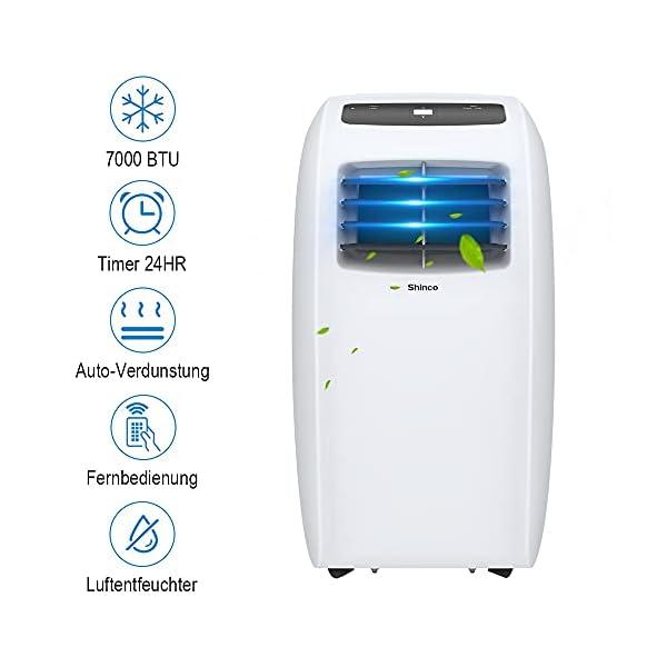 Shinco 7000BTU Condizionatore Portatile, 2,1kW, 3 in 1 con Tubo di Scarico, Raffreddamento, Deumidificazione e Ventilazione, Eco R290 3 spesavip