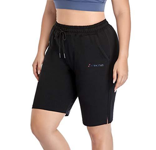 ZERDOCEAN Women's Plus Size Casual Jersey Cotton Shorts Lounge Yoga Pajama Walking Sweat Shorts Activewear with Pockets Black 3X