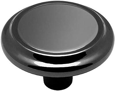 1-1//4 Inch Diameter Cosmas 9971BN Black Nickel Cabinet Hardware 3-Ring Round Knob 25 Pack