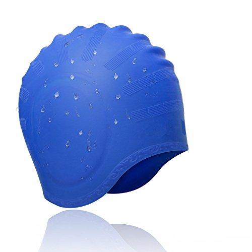 Avril Tian, cuffia da nuoto e per sport acquatici, unisex, in silicone impermeabile, copre le orecchie ed è adatta a chi ha i capelli lunghi Blue