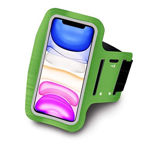 "Brazalete Deportivo para Correr Running valido Smartphones hasta 6.8\"" Neopreno Ajustable Velcro antisudor Antideslizante Brazalete movil Funda movil Bolsillo para Auriculares Llaves (Verde)"