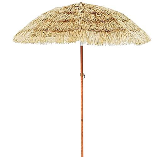 Paraguas Tiki para exteriores, paraguas hawaiano Tiki con manivela, resistente a los rayos UV, sombrilla de playa portátil para decoración de fiestas de jardín
