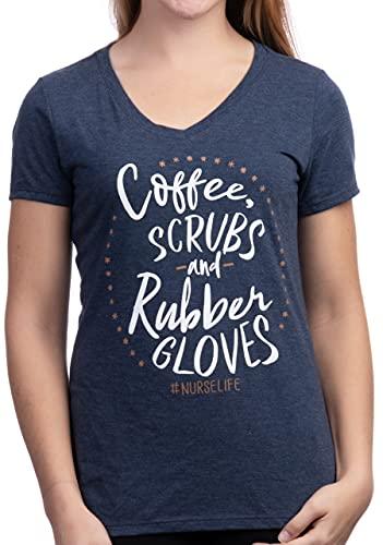 Coffee, Scrubs, Rubber Gloves   Funny Doctor Nurse Cute V-Neck T-Shirt for Women-(Vneck,L)