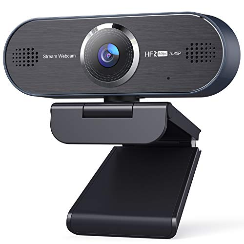 UNZANO 1080P 60FPS HD Webcam with Dual Noise Reduction Microphone, Auto Focus USB Streaming Computer Camera for Desktop/Laptop/PC/Mac, Zoom/Skype/Teams/FaceTime, 80 Degrees Wide-Angle Plug and Play