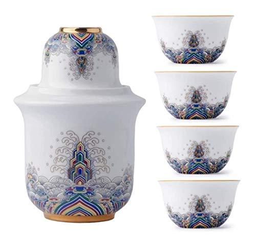 DWhui Conjunto de cerámica Japonesa Sake Sake patrón Establecido Noble Moda de Onda Retro Tradicional Porcelana Crafts, la Copa de Vino Caliente fijado for el Servicio de Sake/Calor (Color : #3)