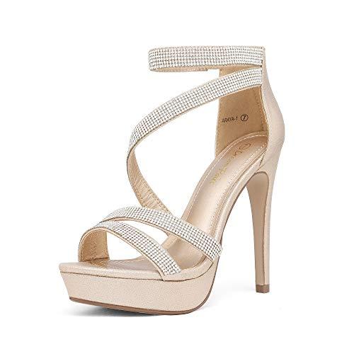 DREAM PAIRS Women's Gold Pearl Rhinestone Open Toe High Stilettos Ankle Strap Platform Heel Sandals Fashion Dress Pumps Wedding Bride Shoes Size 7 US Araya-1