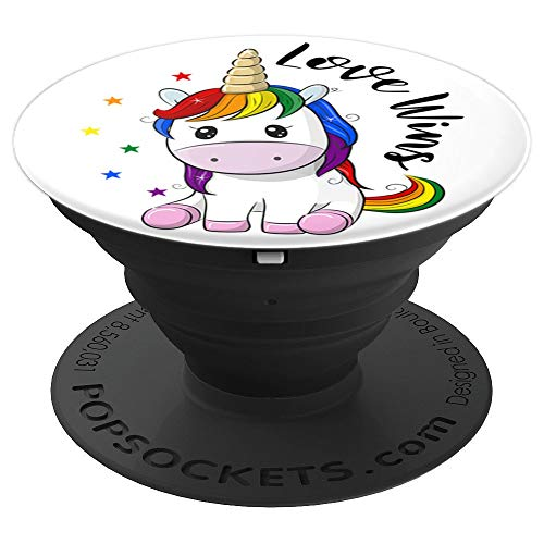 LGBT Gay Lesbian Pride Month Unicorn Love Wins Equality PopSockets Grip and Stand for Phones and Tablets