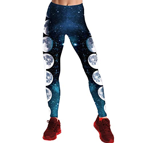 AmyGline Sporthose Damen Sport Leggings Yogahose Lange Laufhose Mode Blau Sternenhimmel Mond Drucken Hohe Taille Yoga Hose Fitnesshose...