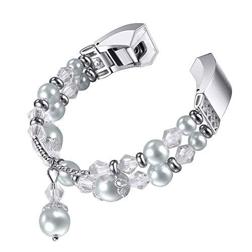 Perlenarmbänder für Fitbit Alta HR, Naturstein-Perlen-Ersatzarmband, elastisches Stretch-Armband für Frauen und Mädchen