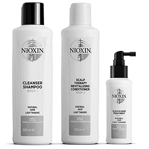 NIOXIN - Kit de 3 Pasos - Tratamiento para Cabello Natural con Debilitamiento Leve e Hidratación Ligera (Champú 300 ml - Acondicionador 300 ml - Tratamiento 100 ml) - Sistema 1