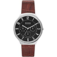 Skagen Men's Grenen Brown Leather Strap Watch 42mm