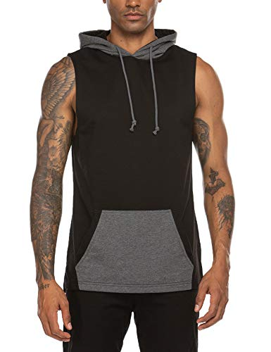 COOFANDY Men's Gym Sleeveless Hoodies Training T Shirts Athletic Muscle Tank Top
