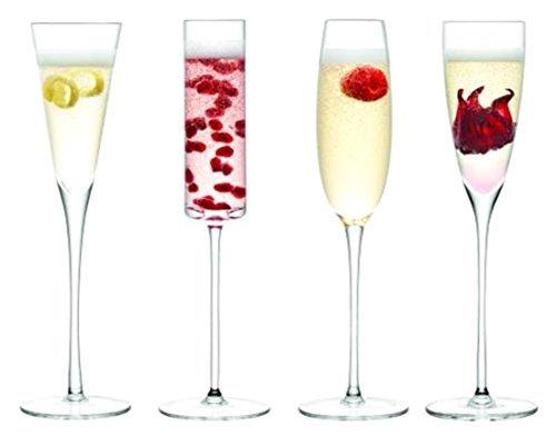 LSA International Jeu de 4 flûtes à Champagne en Verre Transparent.