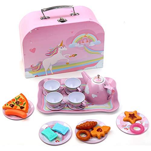 Tee Set Einhorn Teeservice Kinder mit Dessert Spielzeug Tragekoffer Tin Teekanne Set für Kinder Tee Party Pretend Play Geschenk für Mädchen