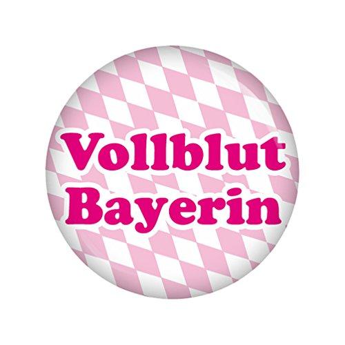 Kiwikatze® Regional - Vollblut Bayerin 37mm Button Ansteckbutton Oktoberfest Wiesn Volksfest für Dirndl oder Lederhose Bayern