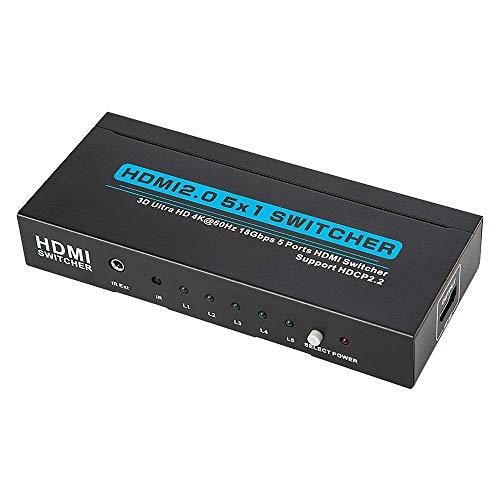 【新しいアップグレードチップ】HDMI切替器 5入力 1出力 HDMI分配器 HDMI2.0 HDCP2.2対応 HDMIセレクター 4k 60hz 高解像度 3D 対応 hdmi切り替え リモコン 付き hdmi 切替 自動 手動, PS 3/PS4/P
