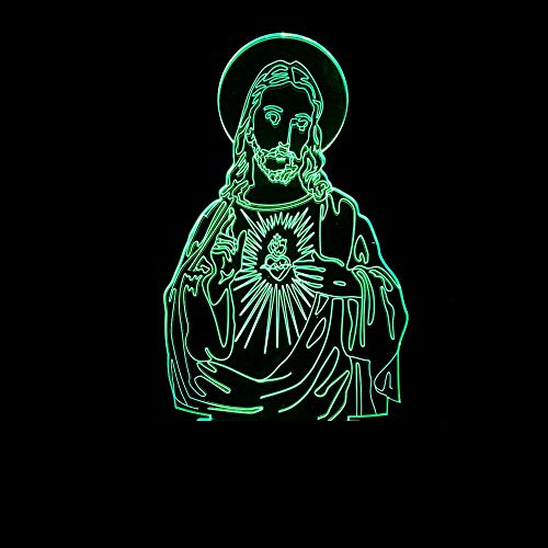 BICCQ Lámparas de Mesa Jesús Estereoscópica 3D Atmósfera Lámpara LED Gradientes De Color Se Toquen Luz De La Noche De Cabecera Escritorio Decorativa Creativa De Cumpleaños USB Remoto