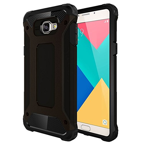 Popular Silicone Phone Shell Phone Case for Samsung Galaxy A9 / A900 Tough Armor TPU + PC Combination Case Protective Cover Wear Resistant Stylish Low Profile Phone Case (Color : Black)