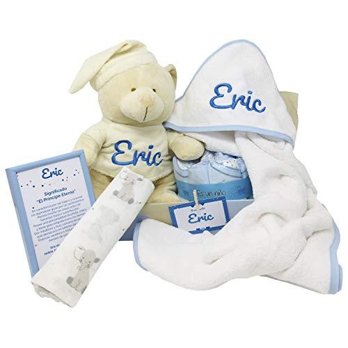 Mabybox Caricias, regalo original para bebé con capa de baño, toalla de recién nacido y oso de peluche personalizado con el nombre del bebé… (Azul)
