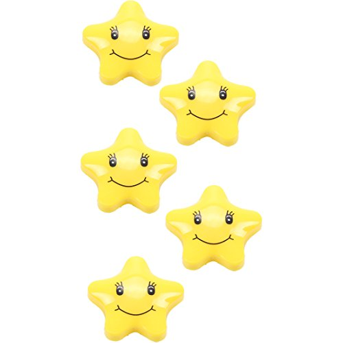 Vanki Refrigerator Magnet Presentation Whiteboard Magnetic Button Star Shape Smile Face 5 PCS