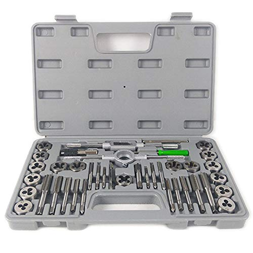 IOIOA Kit d'outils, Haute en Acier allié au Chrome Vanadium Dureté 40 Pièces Relié 3-12mm Manuel Mise sur écoute Tapping Die Set Tapping