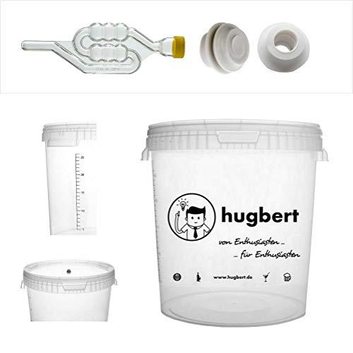 HUGBERT Set 7, 30/33L, Gärbehälter mit Skala Gärungsrohr 2 Dichtgummi Wine, Bier