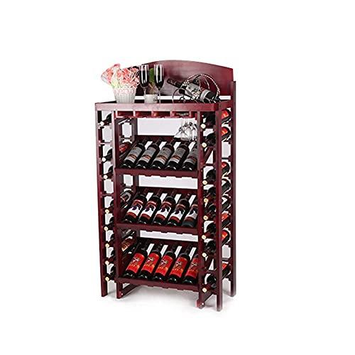 Estante para Botellas de exhibición de Vino y Vino de Mesa Puede Contener 35 Botellas de Vino Tinto con Vidrio Colgante de conducto Adecuado para Lounge Bar/cafetería/Restaurante/Bar (35x73x130