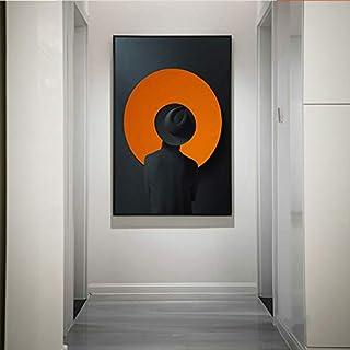 ganlanshu Peinture sans Cadre Abstrait Chapeau Homme Figure Art Impression Affiche..