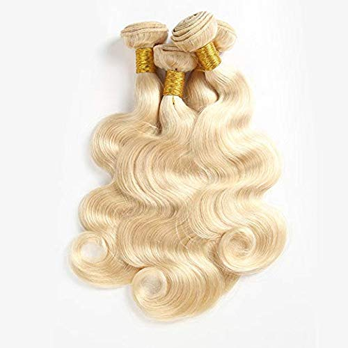 XCAI 613 Blonde Hair 3 Bundles Soutien-gorge bouclé, bouclée à l'avant 100% Primitive Human Hair Wig Curtain(12.14, 16 inches)