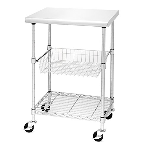 Seville Classics Stainless Steel Professional Kitchen Cart Cutting Table, Small (Renewed)