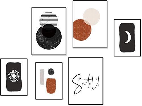 ELAFI® Premium Poster-Set Zitat Sprüche| Große Poster Set schwarz weiß | Ethno Stil Afrika Boho | Poster Set Schlafzimmer 3X DINA3