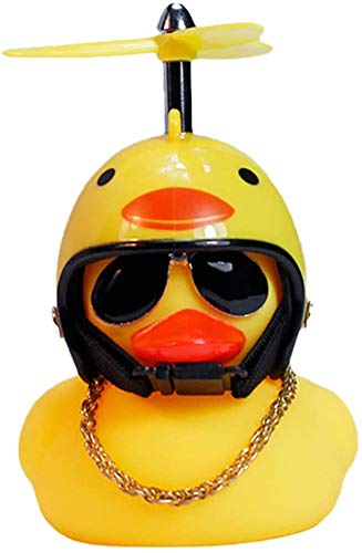 Rubber Toy Helmet Duck Car Decoration, Handsome Yellow Duck Dashboard Interior Decoration Accessories for Adults, Men and Women, Children (Chick)