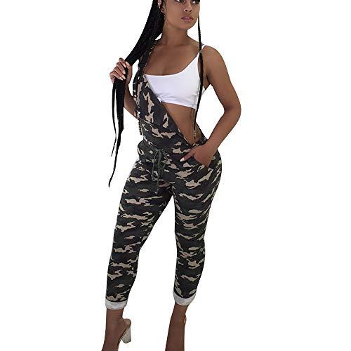 Pantalón Chandal Mujer Mono Jumpsuit Casual Pantalones con Cordón Peto Vaquero Mono de Jeans Suelto para señora Talla Grande Estampado de Camuflaje STRIR