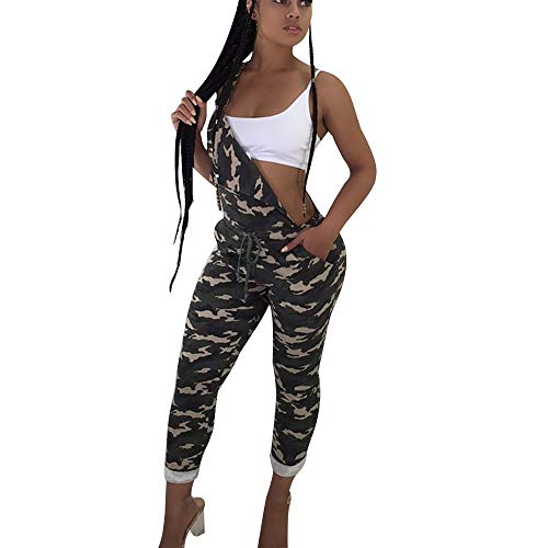 MEIbax Damen Camouflage Sling Jumpsuit Strap Casual Hosen Strampler Bedruckte Bunte Leggins Fitnesshose