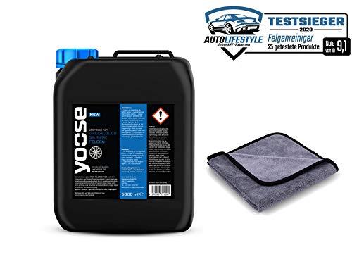 yoose Premium Felgenreiniger | 5 l Kanister + Aurum Mikrofasertuch | pH-neutral | säurefrei | Professionelle Felgenpflege für Alu- und Stahlfelgen
