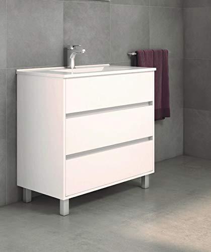 Mueble de baño con Lavabo de Porcelana - con 3 Cajones - El Mueble va MONTADO - Modelo Alcoa (60 cms, Blanco)