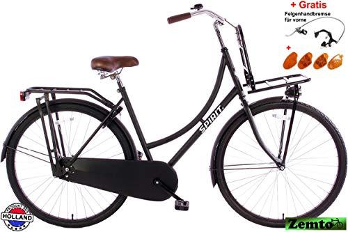 Spirit Damenrad Transporter Mattschwarz 28 Zoll Plus Frontträger, 57 cm, inkl. Felgenbremse und Reflektoren