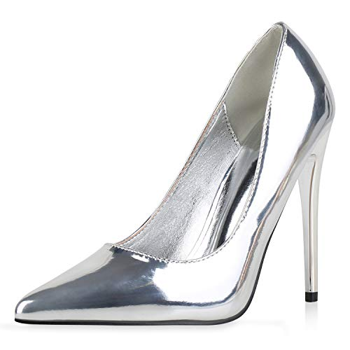 SCARPE VITA Damen Spitze Pumps Stiletto Party Schuhe Lack High Heels Metallic Absatzschuhe Elegante Abendschuhe 186285 Silber 39