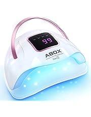 ネイルドライヤー ABOX 72W 硬化用UV+LEDライト 4段階タイマー付き 自動センサー 携帯便利 ポリッシュもジェルネイル対応 時間目安 日本語説明書付き