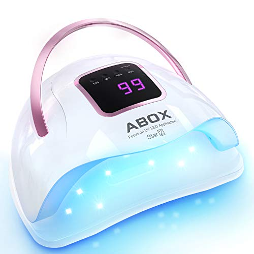 UV LED Nail Lamp, ABOX Star2 72W Nail Dryer for Gel Nail Polish, Fast Curing with 36 LED Beads, Gel Nail Light with LCD Display, Smart Sensor, Removable Base for Manicure & Pedicure
