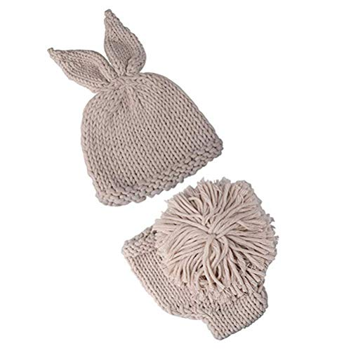 Yissma - Accesorio para fotografía de bebé recién nacido, gorro de punto de conejo, ganchillo, traje y zanahoria, para niños y niñas