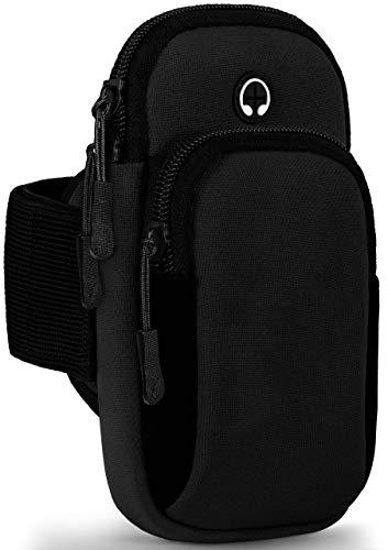 OneFlow Federleichte Sporttasche mit flexiblem Armgurt für Sony Xperia XA1 | Atmungsaktiv, 2 Separate Fächer + Kopfhöreröffnung, Schwarz