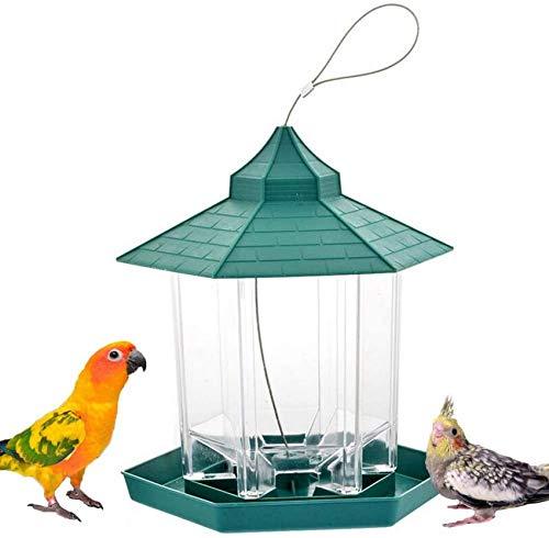AXAA Outdoor Bird Feeder, Transparent Plastic Waterproof Hanging Wild Bird Foraging Station Perch Suitable for Courtyard Garden Decoration