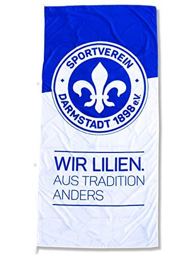 Sportverein SV Darmstadt 98 Fahne - Hissfahne Flagge mit Karabiner - Wir Lilien - 120x250cm - Original Lizenzprodukt