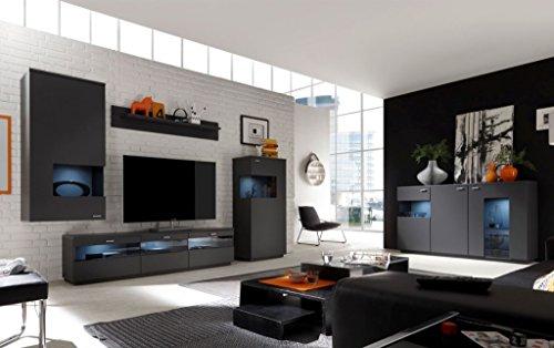 COMO Wohnzimmer Set 7 Wohnwand Anbauwand Wohnkombination Graphit Grafit supermatt
