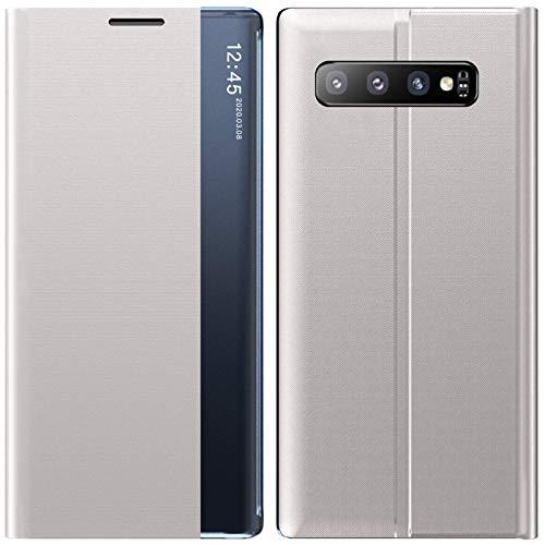 Hülle Case für Samsung Galaxy S10,Premium Leder Handyhülle Clear View Cover Flip Schutzhülle Standfunktion 360 Grad Stoßfest Kratzfest Tasche Ledertasche für Samsung Galaxy S10