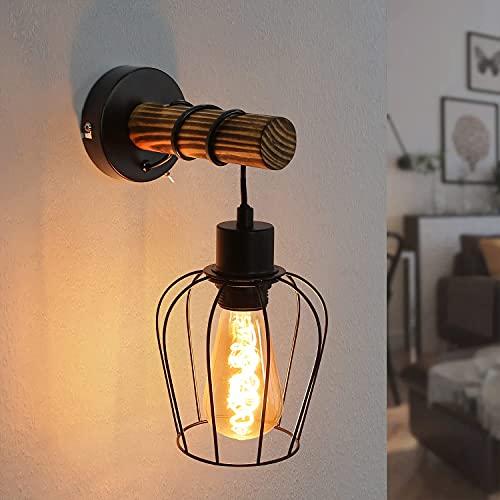 ZMH Lámpara de pared retro de madera para interior, 1 foco, lámpara vintage en diseño industrial con interruptor de metal y madera, en aspecto de rejilla, color negro, casquillo E27, sin bombilla