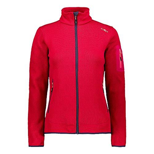 CMP Damen Jacke Knitted Melange Fleece Jacket 3H14746 Magenta-B.Blue 48