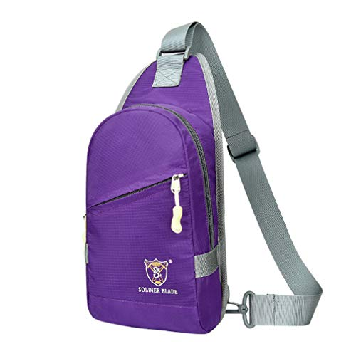 Sleeping forest Sling Bag for Men Lightweight Small Backpacks Water-proof Rucksack Sport Shoulder Bag Travel Chest Bag Cross Body Bag Gym Outdoor Personal Pocket Bag Daypacks for Men and Women Purple